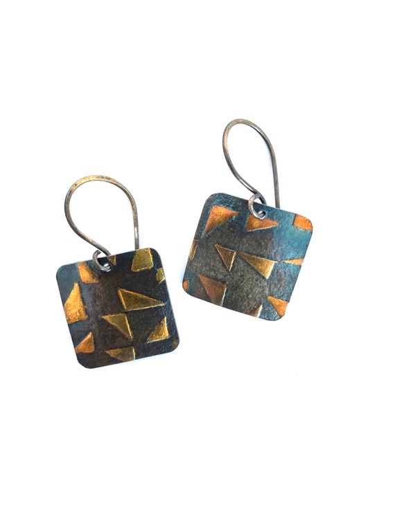 Triangle Print Fine Silver Dangle Earrings With 24kt Gold