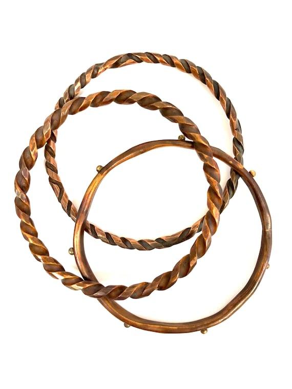 Set Of 3 Copper Bangles