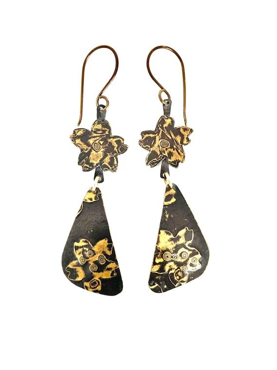 Mokume Gane Cherry Blossom Dangle Earrings