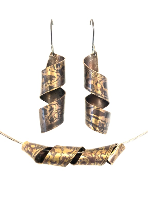 Mokume Gane Spiral Necklace and Earring Set