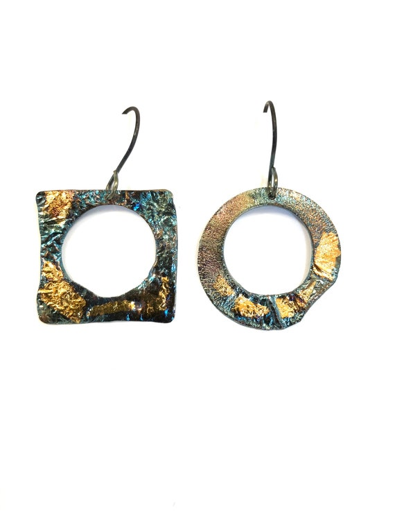 Sterling & Gold Keum-Boo Heat Textured Dangle Earrings