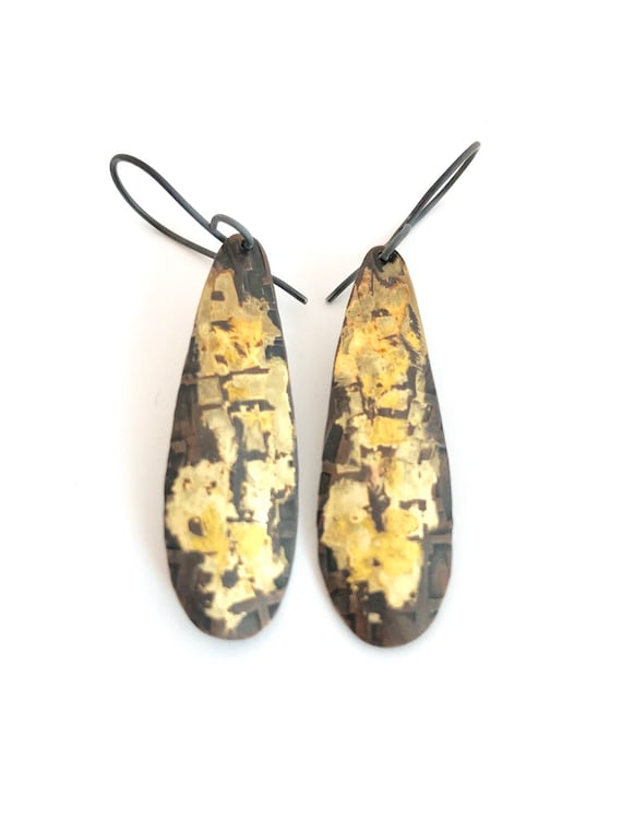 Copper & Gold With Keum Boo Teardrop Earrings