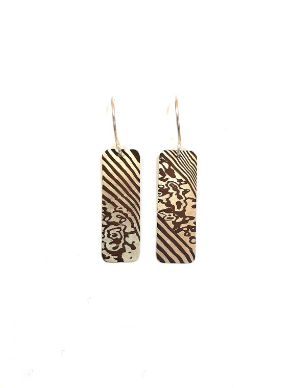 Mokume Gane Twist Dangle Earrings