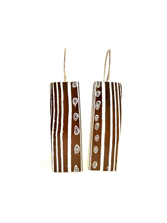 Mokume Gane Rectangle Dangle Earrings
