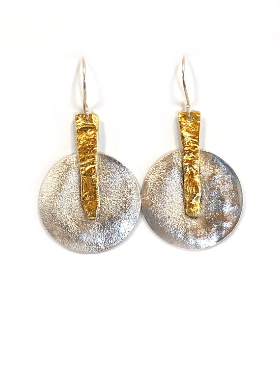 Sterling Heat Textured Dangles With 24k Gold Keum Boo