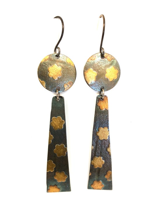 Flower Print Sterling Dangle Earrings With 24kt Gold