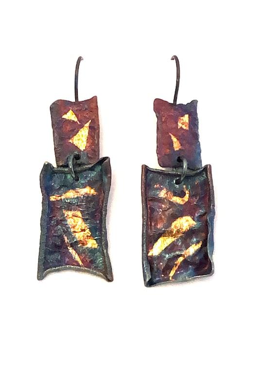 Heat Textured Sterling & 24k Keum-Boo Dangle Earrings