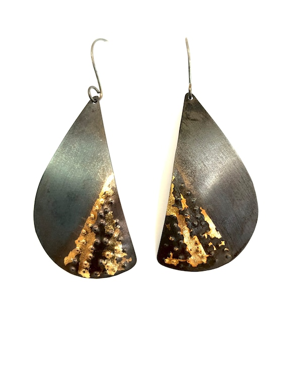 Steel & 24k Keum Boo Gold Dangle Earrings