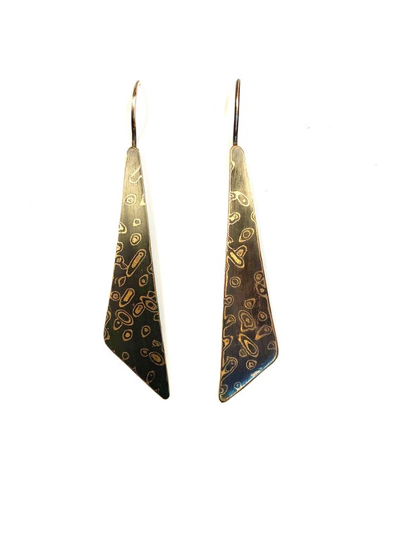 Mokume Gane Long 'Solar System' Long Triangle Dangle Earrings