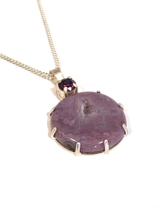 Druzy Aztec Lace Sterling Necklace With Cubic Zirconia