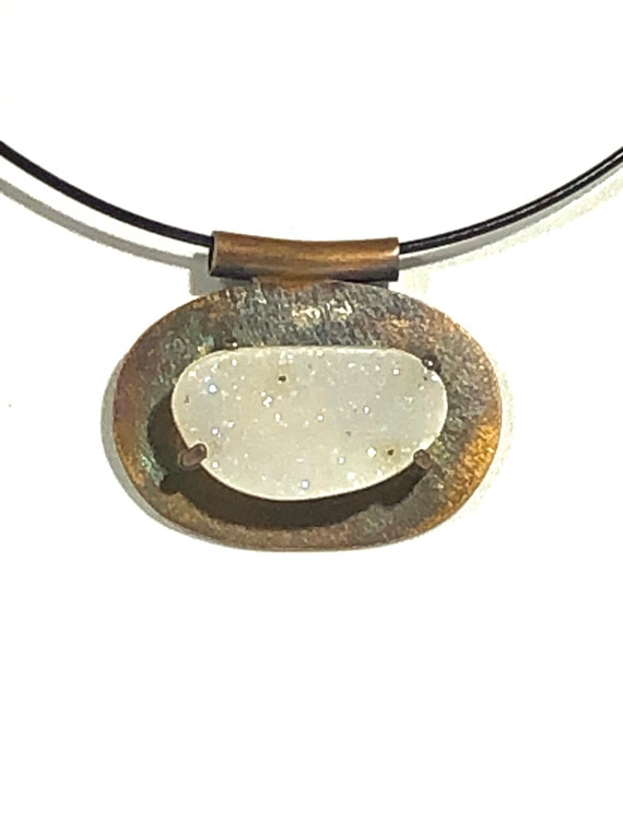 Sterling Necklace with Milky White Quartz Druzy Cabochon and Stainless Snake Cable