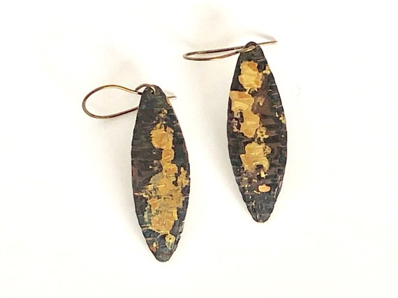 Copper & Gold Hammered Marquise Earrings