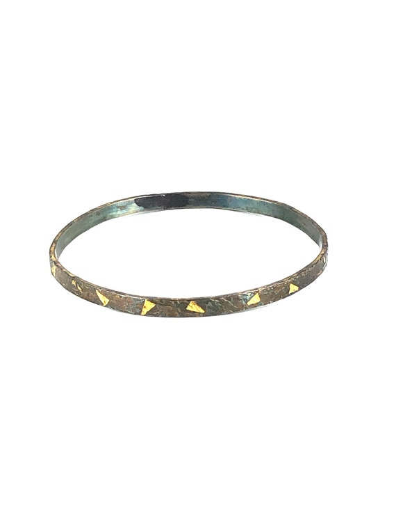 Hammered Sterling Silver Bangle with Fused 14k Gold