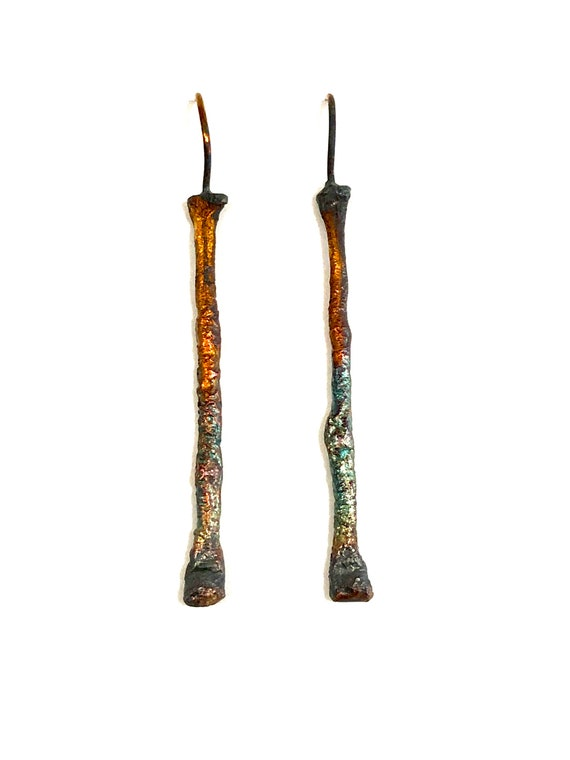 Sterling Heat Textured Twig Earrings