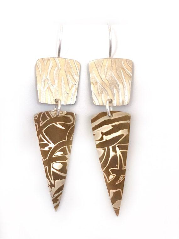 Mokume Gane And Sterling Dangle Earrings