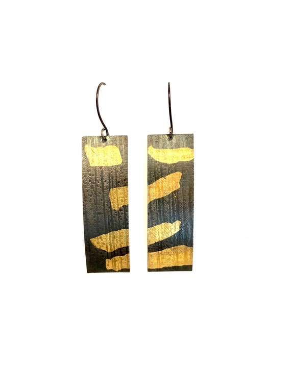 Sterling & Gold Keum Boo Textured Rectangle Earrings