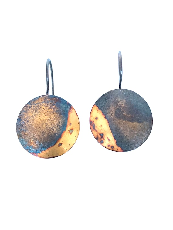 Fine Silver Dangle Earrings with Gold Keum Boo