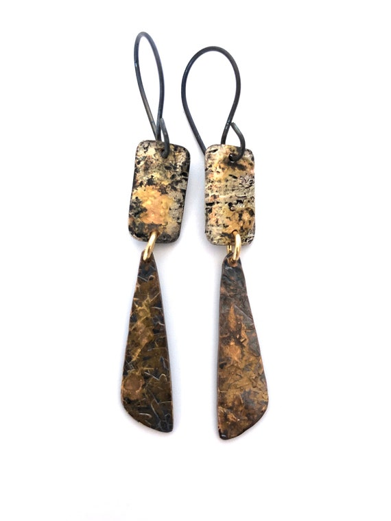 Copper & Gold Hammered Earrings