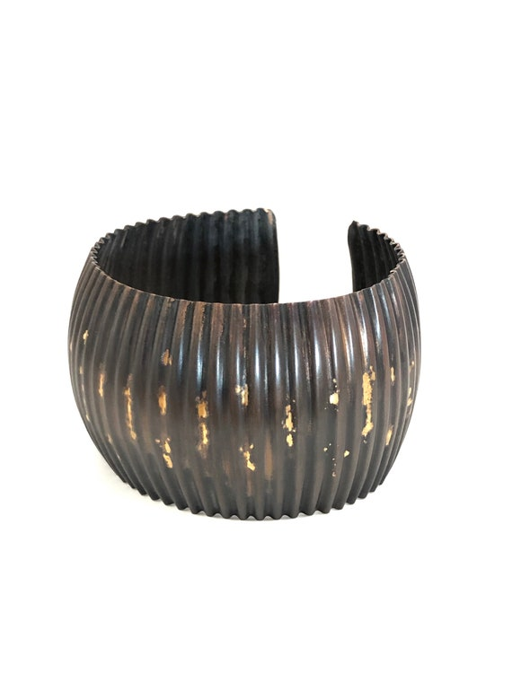 Corrugated Copper Cuff With 10k Accents
