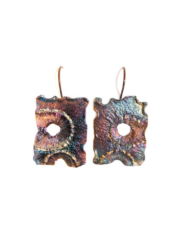 Sterling & 14k Gold Heat Textured Dangle Earrings