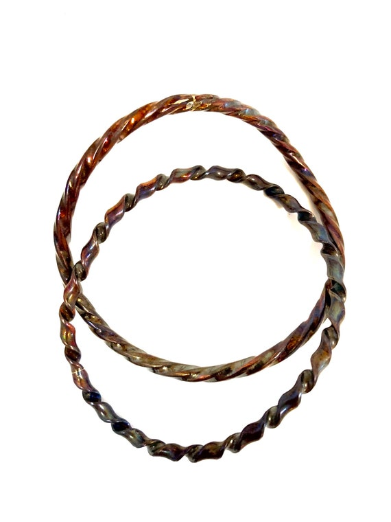 Pair of Twisted and Curved Copper Bangles