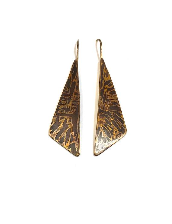 Mokume Gane Long Hammered Triangle Dangle Earrings