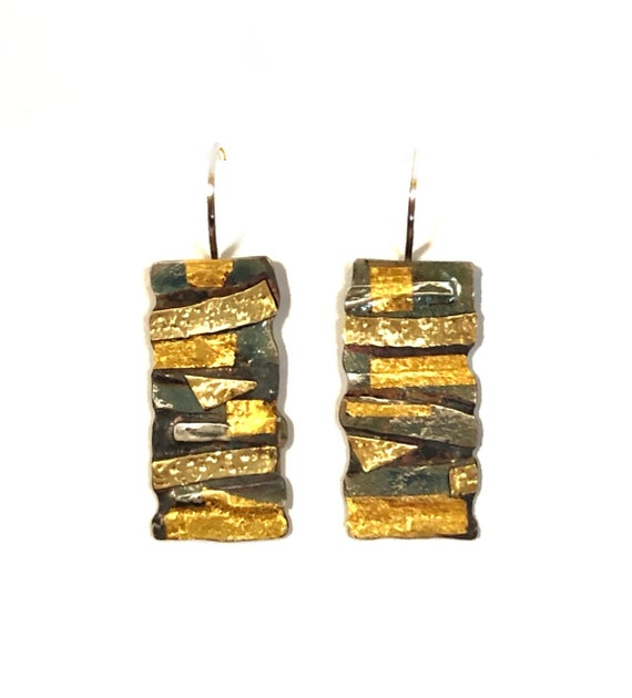 Fused Sterling Dangles With 10k, 14k and 24k Keum Boo.