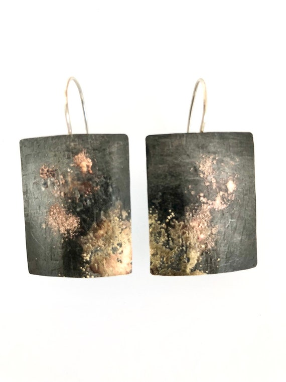 Steel & Gold Rectangle Earrings With Shakudo