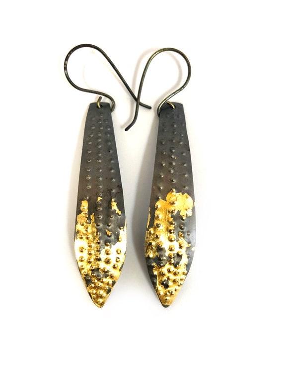Steel & 24k Keum Boo Gold Dangle Earrings