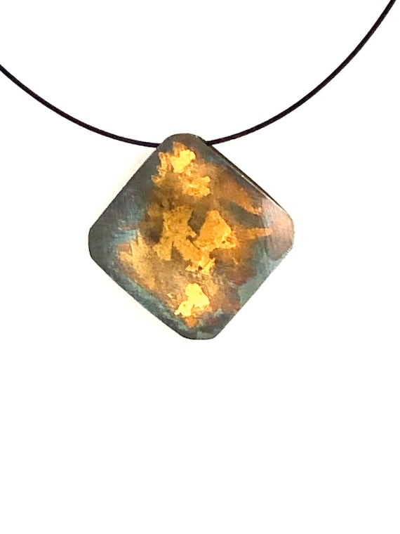 Sterling & Gold Keum Boo Puffed Square Reversable Necklace With Stainless Cable