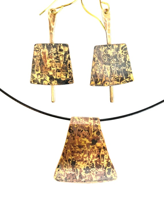 Mokume Gane Necklace and Earring Set