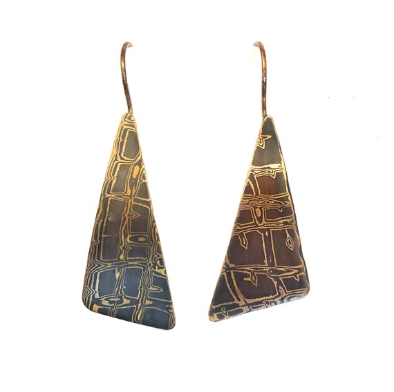 Mokume Gane Short Crocodile Triangle Dangle Earrings