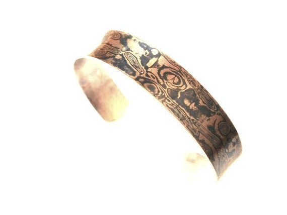 Mokume Gane Sterling Backed Cuff Bracelet