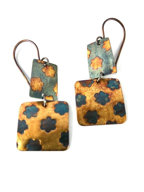 Sterling & Gold Flower Roller Print Earrings