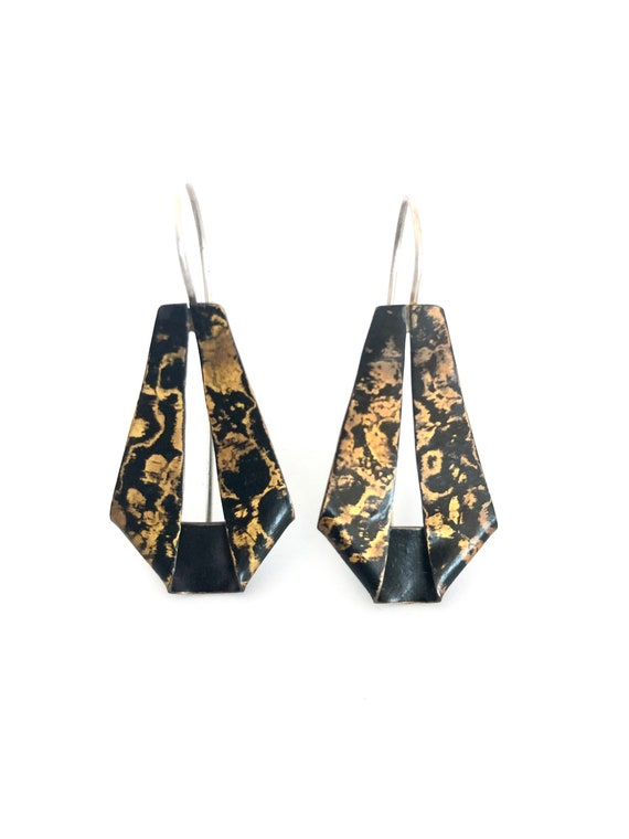 Mokume Gane 'Snakeskin' Dangle Earrings