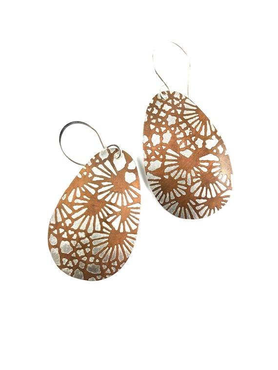 Bimetal Pine Needle Etched Dangle Earrings