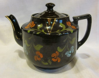 Vintage brown teapot with hand painted flowers chocolate brown teapot orange blue green floral made in England