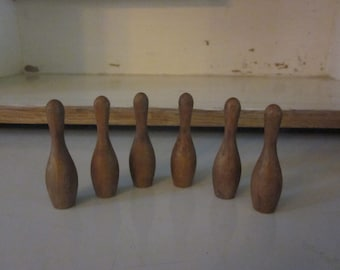 Miniature wooden skittle pins set of 6 bowling pins farmhouse country primitive stained wood