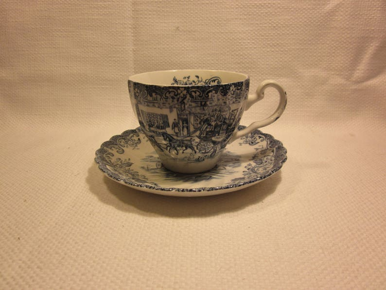 Johnson Brothers blue Coaching Scenes tea cup and saucer English ironstone teacup and saucer