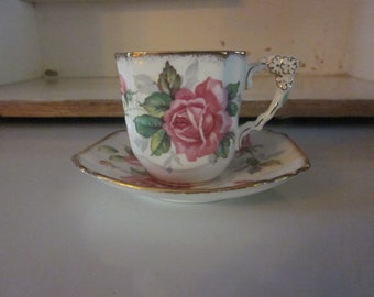 Royal Stafford Berkley Rose teacup and saucer square shape vintage teacup floral pink roses English bone china shabby chic chip