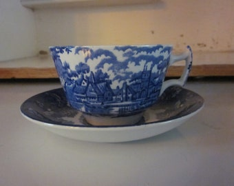 Enoch Woods Woodsware English Scenery blue transferware ironstone teacup and saucer English pastoral scene