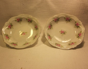 Pair of vintage china dishes , berry bowls, trinket dish, pink roses
