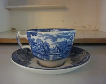 Enoch Woods Woodsware English Scenery blue transferware large teacup and saucer ironstone English pastoral scene