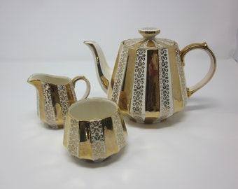 Sadler tea set gold and white Sadler teapot, creamer, open sugar bowl vintage James Sadler teapot