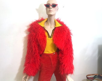 Red Monster Fur Fluffy Cropped Jacket, 90s vintage