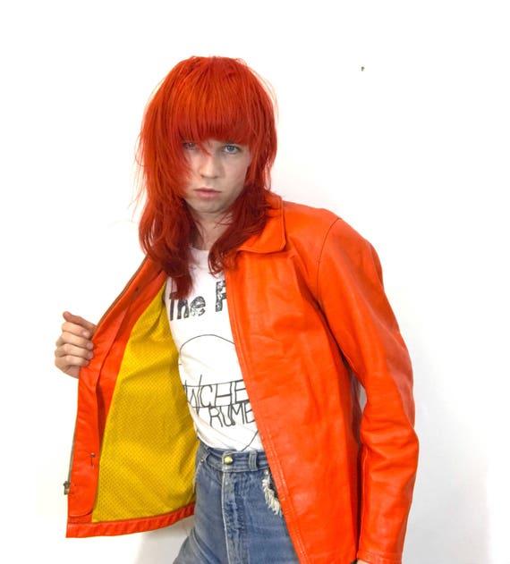 Acid Orange Real Leather Jacket with Yellow Lining