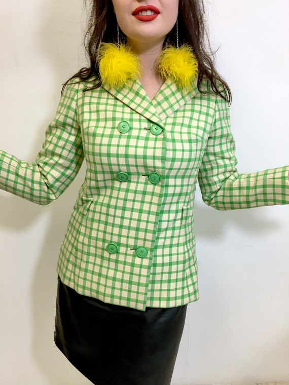 Lime Green Retro Print 60s Clueless Jacket