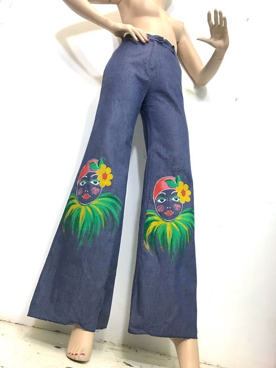 1970s Hand Painted Pants