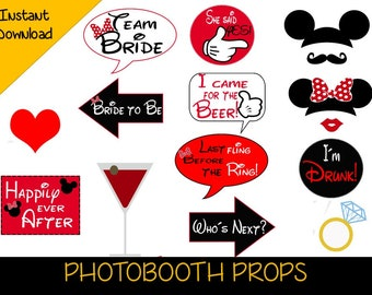picture regarding Free Printable Mickey Mouse Photo Booth Props identified as Bachelorette occasion photobooth Etsy