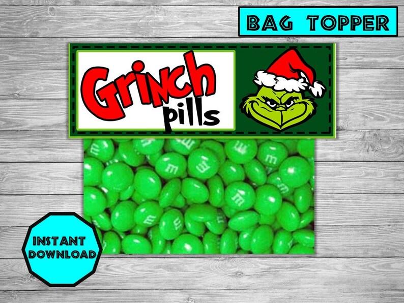 image about Grinch Pills Printable identify Xmas Decor - Trip Decorations -Trip tags- Xmas reward -Grinch Products tags- Printable Xmas Bag Toppers